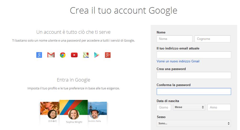 Creare Google account senza indirizzo GMail